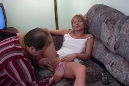 Big-bellied dork fucks his wife and gives to lick sperm from the penis.