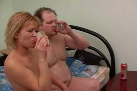 Husband and wife are drinking Beermix in the morning and having a great fuck.
