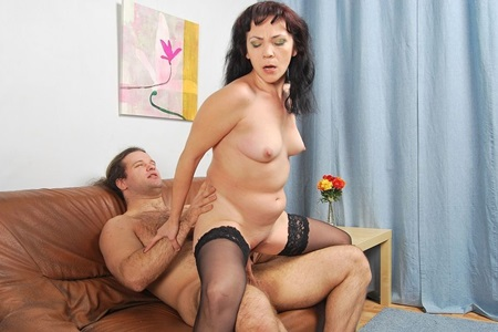 Hairy dork fucks mother-in-law with small hung tits.