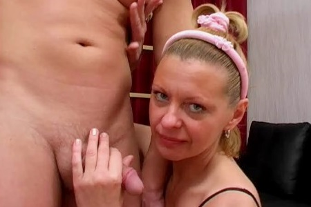 Mother beats her forehead with her son's shaved dick.