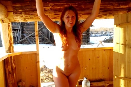 Mature's hot body on cold snow after taking russian bath.
